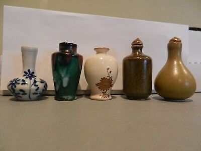 5 Piece Ceramic Porcelain Lot. Two Chinese Snuff Bottles + 3 Miniature Vases