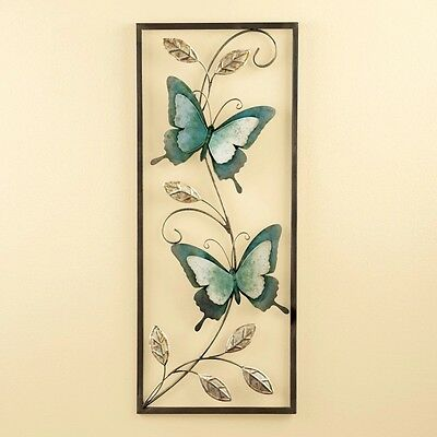 Blue Silver Butterfly Branch Leaf Framed Metal Wall Plaque Hanging Home Decor