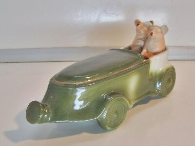 "Antique German Novelty Porcelain ""fairing"" 2 Pigs In A Racing Car Figure C.1910"
