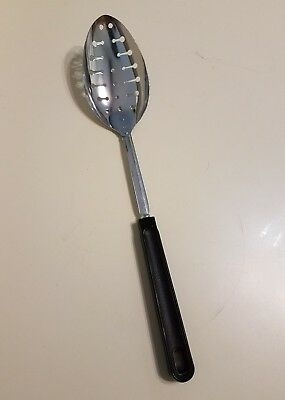 Vintage Ekco Metal Kitchen Chrome Slotted Spoon Round Handle New Old Stock