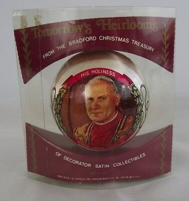 Pope John Paul II Satin Christmas Tree Ornament Bradford Treasury 1980 BRAND NEW