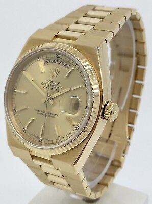 Rolex Oyster Quarts Day-Date 19018 18k Yellow Gold Men's Watch 1981 Full Factory
