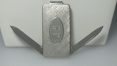 Money Clip Imperial Pocket Pen knife 2 blades Vintage Anson Silver Tone