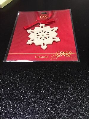 LENOX Pierced Snowflake Charm with Red Ribbon- SKU #812850 -New in Orig. Pkg.