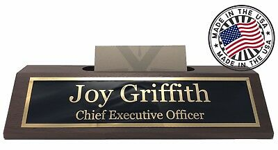 Personalized Business Desk Name Plate with Card Holder - Made in USA - Walnut