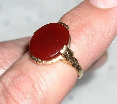 Vtg.Solid 10k Gold Art Deco 5ct.Red Carnelian Victorian estate ring lot No. Res!