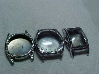 Lot Of Three Art Deco Wristwatch Cases All Chrome Plate Two Have Crystals As Is
