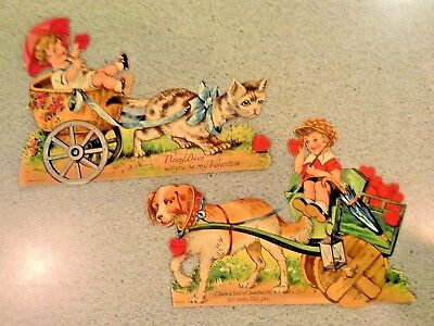 Pair of Large Vintage GERMAN DIE CUT MECHANICAL VALENTINES, Kids in Carts