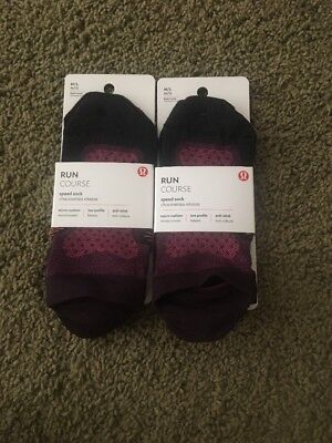 NWT Lululemon Size M/L Lot *2 Pairs* Run Course Speed Sock Black Red