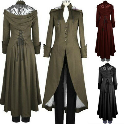 Mens Womens Steampunk Military Coat Jacket Long Medieval Gothic Hooded Uniform