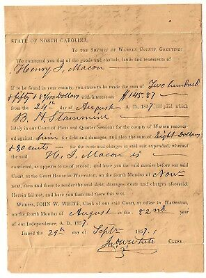 1800's STATE OF NORTH CAROLINA NC ESTATE Document #2  ~ MANY SEARCHABLE NAMES