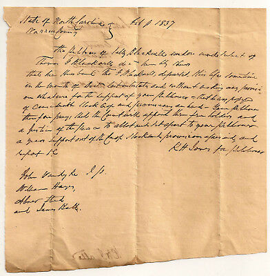 1800's STATE OF NORTH CAROLINA NC ESTATE Document #4   ~ MANY SEARCHABLE NAMES