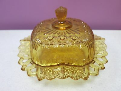 1880's FASHION / DAISY & BUTTON Bryce Bros. CANARY VASELINE Butter Dish w/Cover