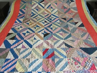 ANTIQUE / VINTAGE COUNTRY CRAZY QUILT -Early 1900s- GREAT CONDITION - FEEDSACK