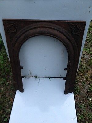Vtg Architectural Salvage Fireplace Mantel Insert Cast Iron Arch Surround 2 of 3