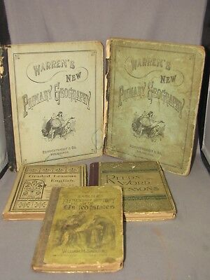 Lot of 5 ANTIQUE SCHOOL BOOKS ALL 1800'S GEOGRAPHY HISTORY ENGLISH