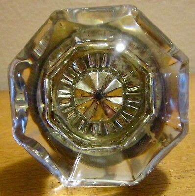 Vintage Clear Octagon Shaped Glass Door Handle and Spindle Hardware ONLY 1 KNOB
