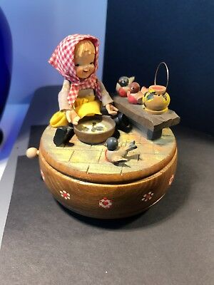 """ANRI Hand Carved Music Box playing """"it's impossible""""rotating rare girl birds"""