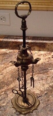 Antique 3 Burner Brass Whale Oil Lamp w Tools Wick Cutter tweezers Pick