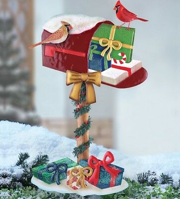 Christmas Present Mailbox Cardinal Winter Holiday Outdoor Yard Stake Lawn Statue