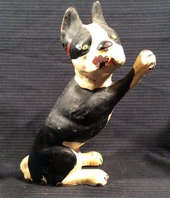 VTG CAST IRON BLACK & WHITE BOSTON TERRIER DOG DOOR STOP 6 Lbs