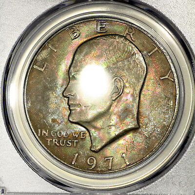 1971-P MS63 Eisenhower Clad Dollar $1, PCGS Graded Ike, Deep Colorfully Toned