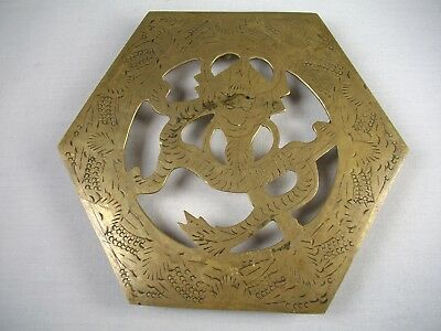 Vtg Solid Brass Dragon Asian China 5'' Trivet Hot Plate Holder Hand Carved Stand