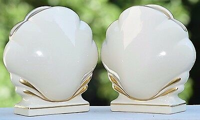 Vintage Art Deco Style Pair Porcelain Clam Shell Vases Gold Hollywood Regengy