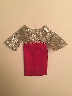 Vintage Barbie Clone Pinkish Red and Silver Lame Dress