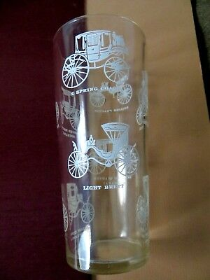 Vintage mid century white horse carriages drinking glass tumbler