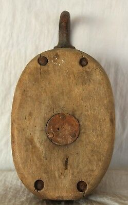 Antique/Vintage BLOCK AND TACKLE Wood Single Pulley Anvil Logo Barn Nautical