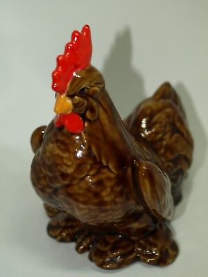 Vintage Ceramic Chicken/ Rooster Figurine in Glossy Brown-1238