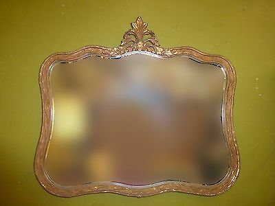 Vintage French Provincial Style Dark Gold Gilt WALL MIRROR Curved Floral Frame
