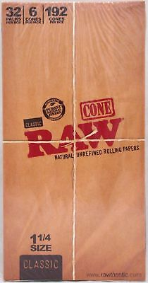 RAW Classic Pre-Rolled Cones 1 1/4 Rolling Papers Box 32 Packs