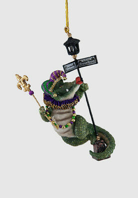 New Orleans Gator on Lamp Post Ornament Katherine's Collection 28-828126