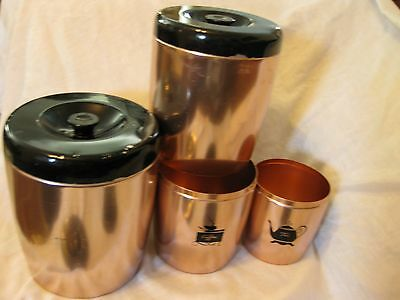 Vintage Mid Century Retro 50s/60s West Bend Canister Set of 4 Copper & Black Tin