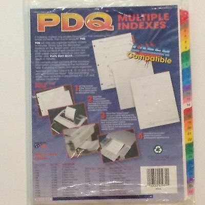 """PDQ Multiple Indexes P10 Laser Compatible P31A 3 Hole Punched 8 1/2"""" x 11"""", 0166"""