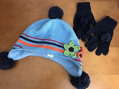 HANNA ANDERSSON Girls Hat Sz L 6-12 Knitted Gloves set LOT blue navy flowers EUC