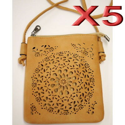 5pc Wholesale Women Girl PU Leather Shoulder Crossbody Bag Messenger Handbag