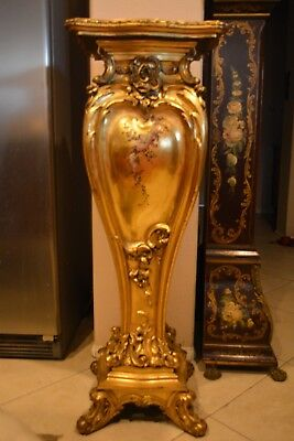 Antique French Wooden Gold Hand Carved And Painted Pedestal Display Stand 48""