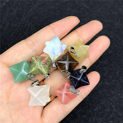 Natural Crystal Quartz Merkaba Star Sacred Geometry Star Chakra Healing Pendant