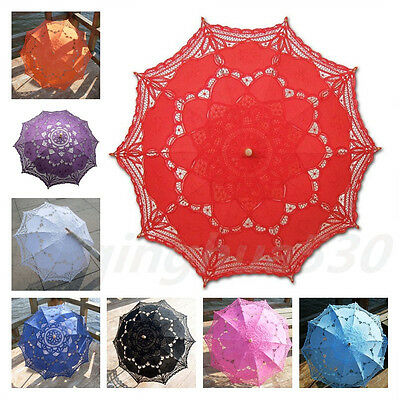 Cotton Lace Sun Wedding Parasol Embroidery Umbrella Bridal Accessory Party Decro