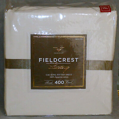 Linens Sheet FITTED Cal-King FIELDCREST 100% Egyptian Cotton 400 Count Cream NEW