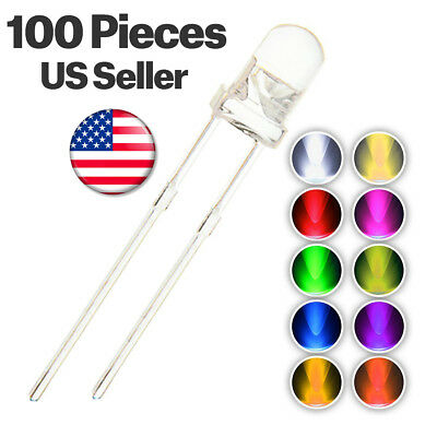 100pcs 10 colors 5mm LED Light Emitting Diode Assorted Kit Mix White Red Blue ..