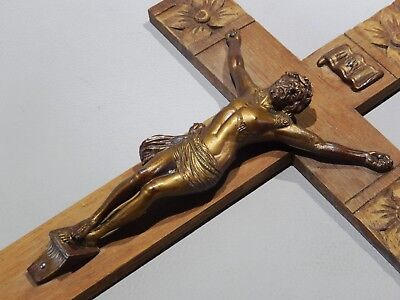 superb Antique french wall CRUCIFIX religious cross wood OAK carved 19.50 tall