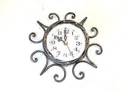 Wall clock with quartz movement wrought iron with decoration iron