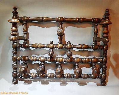 Superb vintage french BISTROT coat hat hook hanger porte-manteau 10 pegs wood