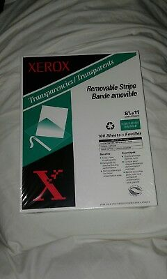 "Xerox Transparencies 100 Sheets 8.5"" X 11"" Removable Strip 3R3108 Clear Plastic"
