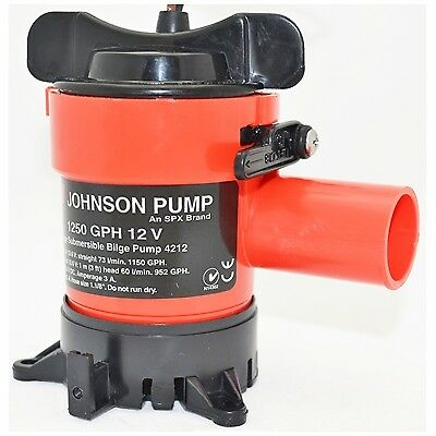 Johnson Pumps 1250 GPH Aerator//Livewell Pump Twin Outlet Ports #48103