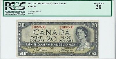 1954 $20 PCGS Graded Devil's Face Bank of Canada Bank Note - VF 20 - BC-33b